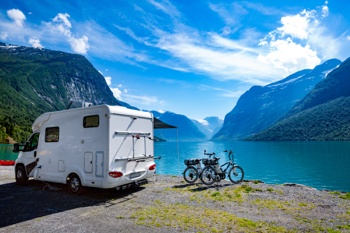 Camping lakeside in a motorhome